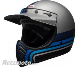 BELL  Casque BELL Moto-3 Matte Silver/Black/Blue Stripes taille XXL