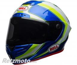 BELL  Casque BELL Race Star Gloss White/HI-VIZ Green/Blue Sector taille L