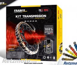 FRANCE EQUIPEMENT KIT CHAINE ACIER HONDA CR 80 RB'96/02 Gdes Roues 15X55 RK420MS * CHAINE 420 HYPER RENFORCEE (Qualité origine)