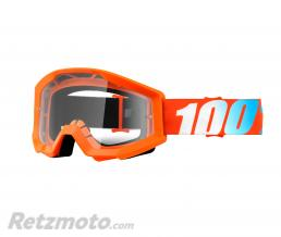 100% MASQUE-LUNETTES CROSS 100% STRATA ORANGE ECRAN TRANSPARENT ANTI-BUEE-ANTI-RAYURES
