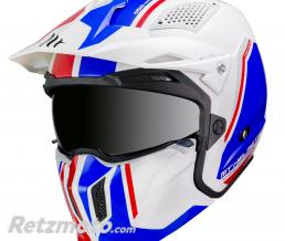 MT HELMETS CASQUE TRIAL MT STREETFIGHTER SV DOUBLE ECRANS TRANSFORMABLE AVEC MENTONNIERE AMOVIBLE BLEU-BLANC BRILLANT L