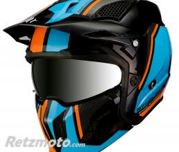 MT HELMETS CASQUE TRIAL MT STREETFIGHTER SV TRANSFORMABLE AVEC MENTONNIERE AMOVIBLE ORANGE FLUO-BLEU-NOIR BRILLANT  S