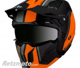 MT HELMETS CASQUE TRIAL MT STREETFIGHTER SV TRANSFORMABLE AVEC MENTONNIERE AMOVIBLE ORANGE FLUO-NOIR MAT  XS