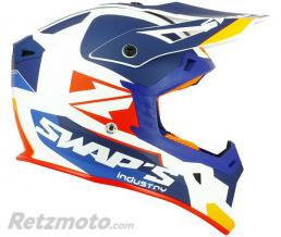 SWAPS Casque cross S818 Blur Blanc Bleu Orange S