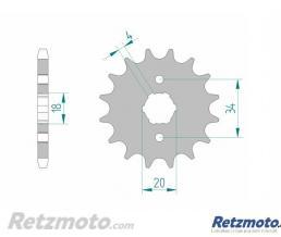 Kit chaine AFAM 428 type R1 (couronne Standard) DAELIM VT125 EVOLUTION