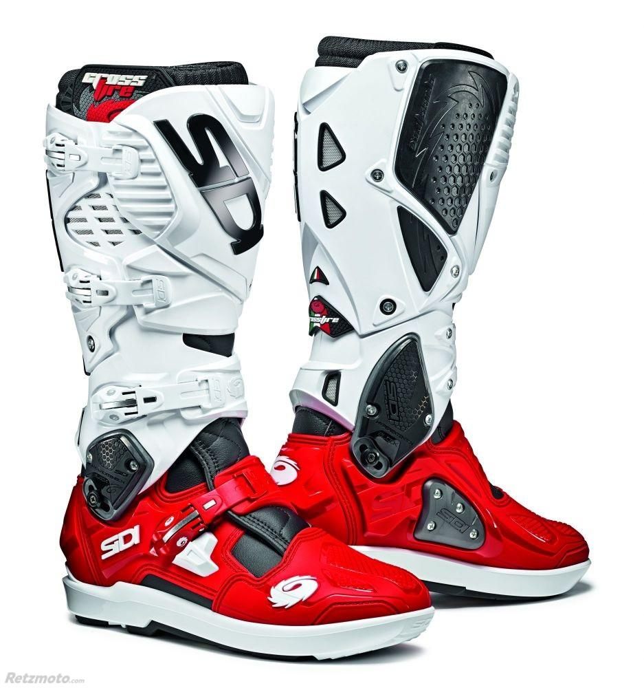 BOTTES MOTO SIDI CROSSFIRE 3 SRS NOIR/ROUGE/BLANC TAILLE 46