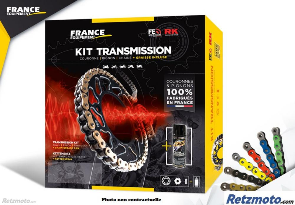 KIT CHAINE ACIER HONDA XL 125 VARADERO '01/16 14X44 RK520KRO * (JC32A-JC49A) CHAINE 520 O'RING RENFORCEE (Qualité origine)