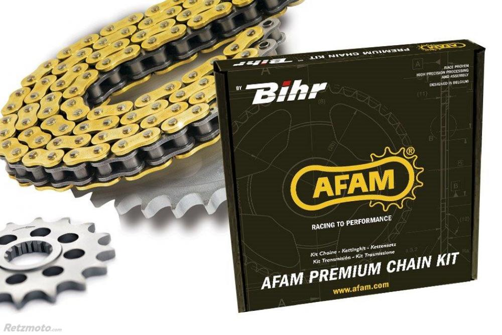 Kit chaine AFAM 420 type R1 (couronne ultra-light anti-boue) KAWASAKI KX80 (BIG WHEELS)