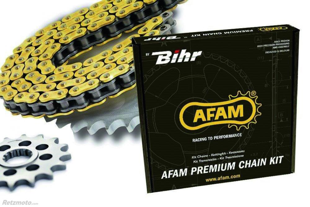 Kit chaine AFAM 428 type MX 13/51 (couronne ultra-light anodisé dur) Kawasaki KX100